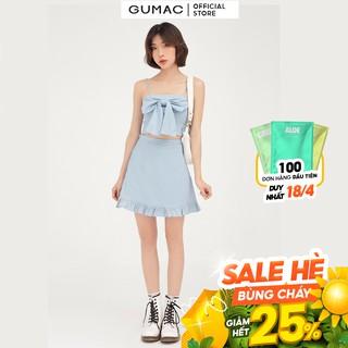 Chân váy nữ phối bèo GUMAC dáng chữ A năng động, trẻ trung VB418 thumbnail