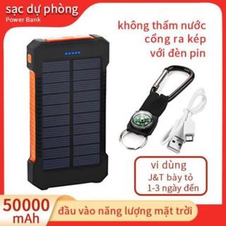 Sạc dự phòng sử dụng năng lượng mặt trời 50000mah 2 cổng USB thiết kế không thấm nước đèn pin