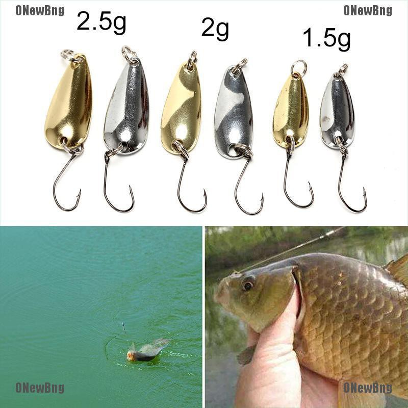 ONewBng✪ 1Xspoon Metal Fishing Lure Bait Bass Fishing Bait Tackle1.5/2/2.5G Golden/Silver