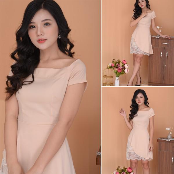Đầm Dáng Suông Phối Ren Thiết Kế Hoạ Tiết Trơn K502 (Hàng thiết kế ,ảnh thật shop tự chụp)