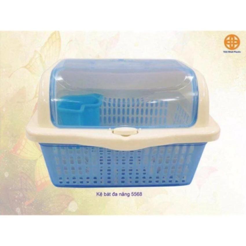 Rổ úp bát đũa thìa nhựa Việt Nhật có nắp đậy và khay hứng nước tiện dụng