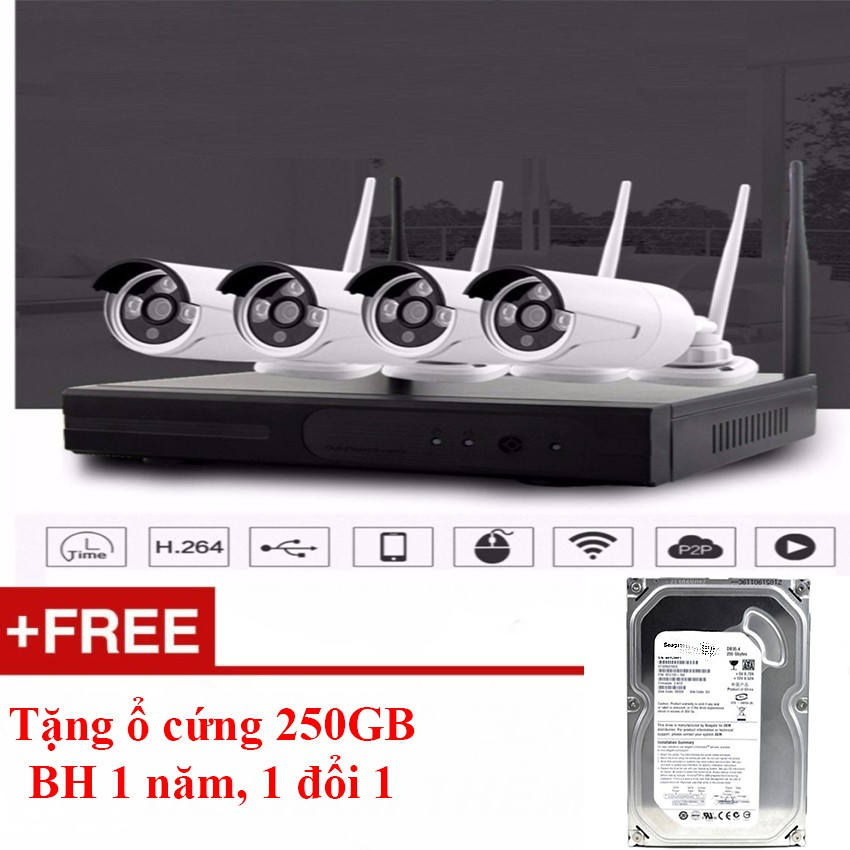 Bộ 4 camera đầu ghi wifi 4 Camera WIFI 720P+Ổ cứng 250GB