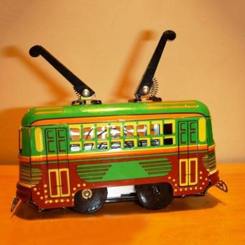 Funny Dual Antenna Bus Model Kids Children Modern Clockwork Tin Toy Gift