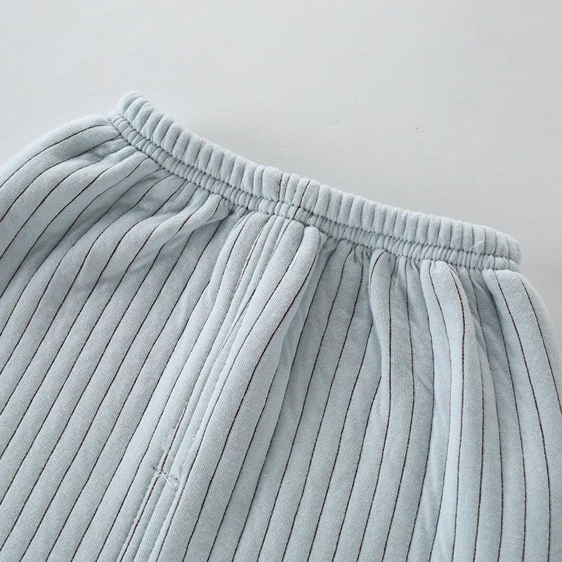 MS165 - Bộ Nỉ Cotton Trần Bông Vân Kẻ Siêu Dày Dặn Mở Khuy Cho Bé