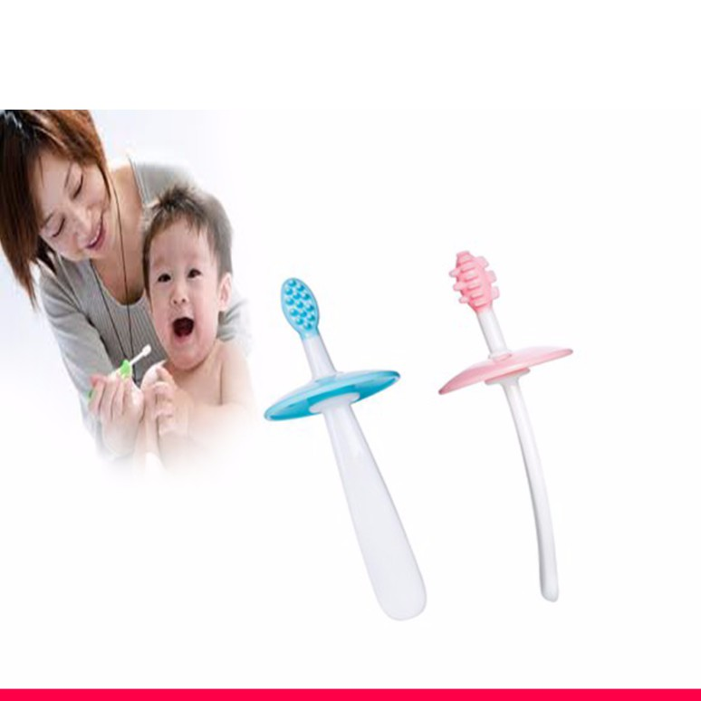 Bàn chải tập đánh răng và matxa nướu silicon mềm cho bé