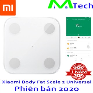 Cân Thông Minh Xiaomi Body Fat 2 (Mi Body Composition Scale 2) bản Quốc Tế 2020 Tiếng Việt Phân Tích 13 Chỉ Số Sơ Thể