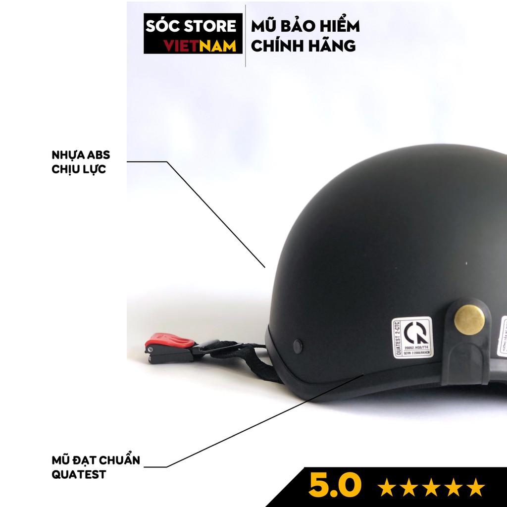 Mũ bảo hiểm nửa đầu chính hãng Sóc Store Vietnam màu xanh dương kèm kính UV, kính phi công, nón bảo hiểm 1 phần 2 freesi