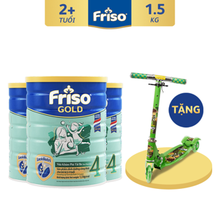 """[Tặng Xe Trượt Chớp Đèn] Combo 3 Lon Sữa Bột Friso Gold 4 (1500g/Lon) giá chỉ còn <strong class=""""price"""">189.900.000.000đ</strong>"""