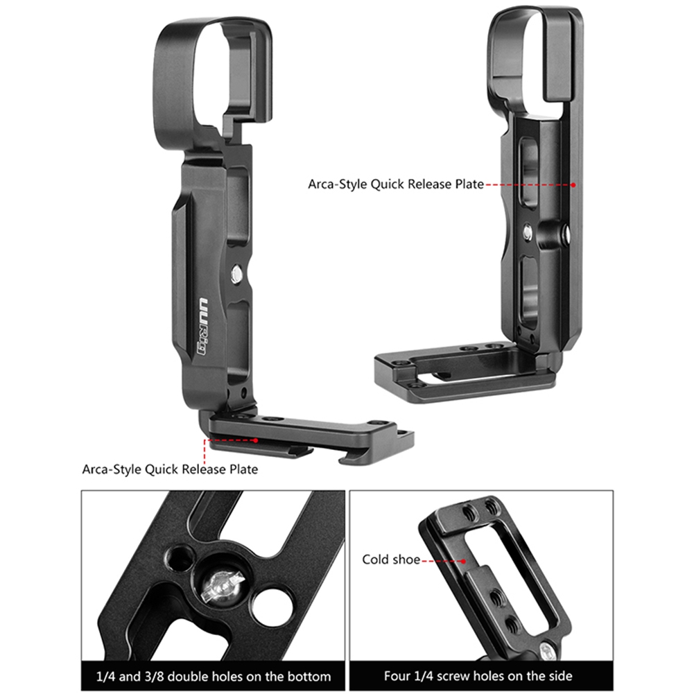 Hand Grip Black Camera Accessories Aluminum Alloy Quick Release Plate With Cold Shoe Vertical Lightweight For Sony A6400