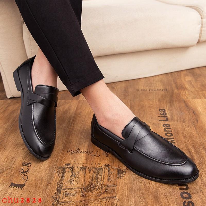 Giày Lười Vải Oxford Màu Nâu Kiểu Dáng Thanh Lịch Cho Nam