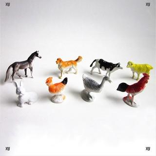 [Toys ] 8pcs Farm Animals Models Figure Set Toys Plastic Simulation Horse Dog Kids Gift