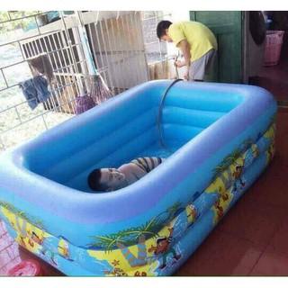Bể bơi 4 tầng chữ nhật đáy 2 lớp bơm được hơi chống trượt có van xả nước