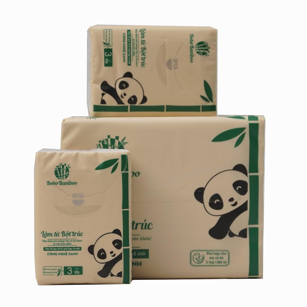 Combo 1 gói khăn giấy rút + 2 gói khăn giấy bỏ túi làm từ bột trúc siêu dai Bobo B