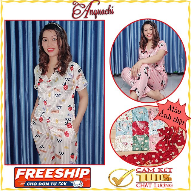 Đồ bộ pijama lụa gấm cao cấp, đồ ngủ quần dài tay ngắn dùng như đồ bộ nữ mặc nhà, đồ bộ đi chơi đều được - Anquachi