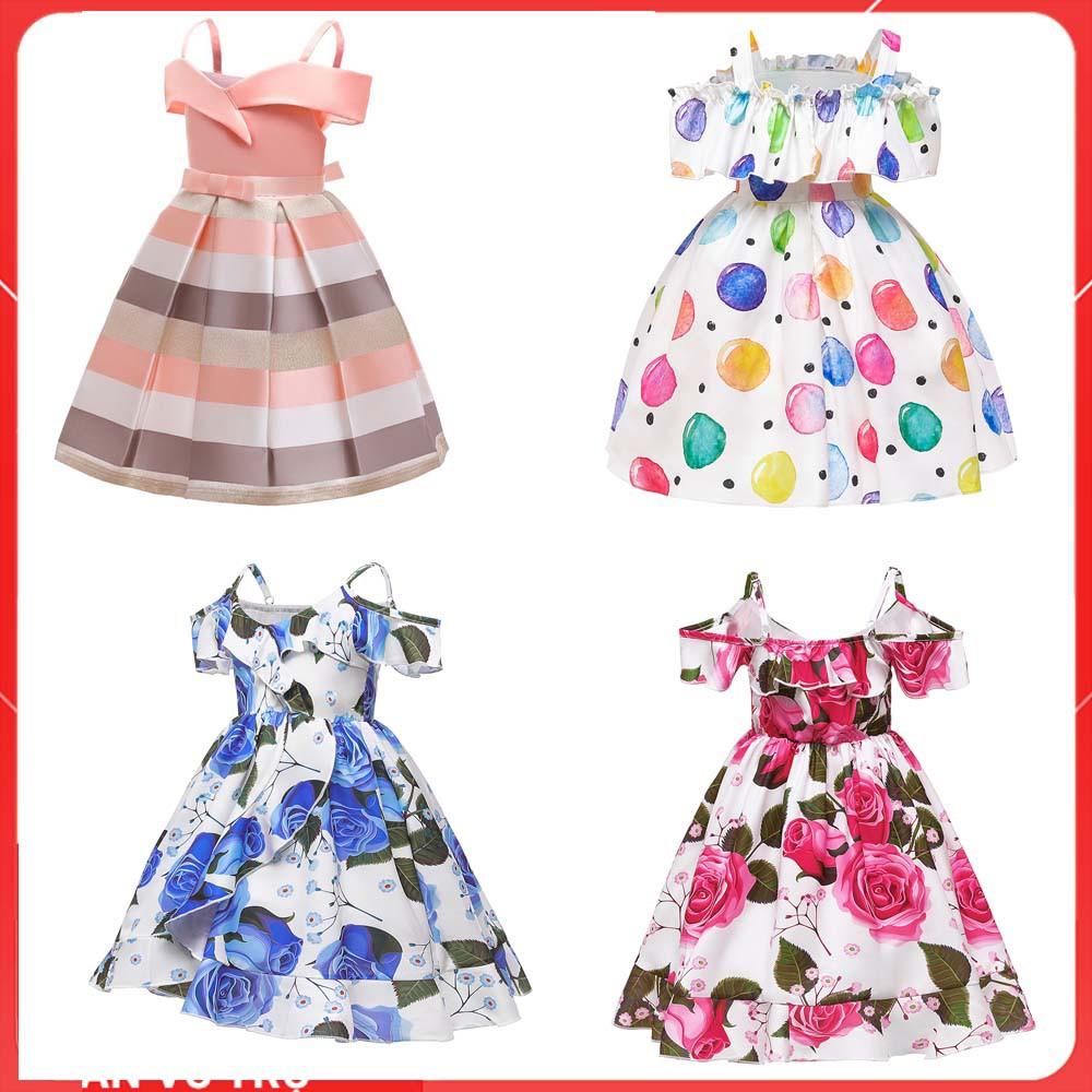 Đầm công chúa bé gái (14kg - 40kg)-Váy đầm công chúa cho bé gái dễ thương- đầm trễ vai bé gái