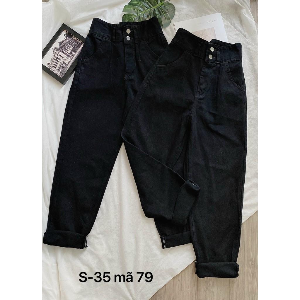 Quần jean baggy nữ FREESHIP Quần jean baggy nữ lưng cao màu đen size đại MS97 thời trang bigsize 2KJean