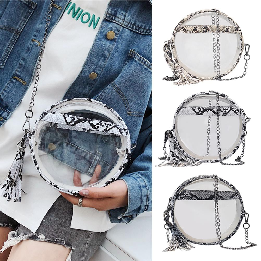 ✾Frendyest✾Serpentine Chain Round Shoulder Handbag Lady Transparent Mini Messenger Bag