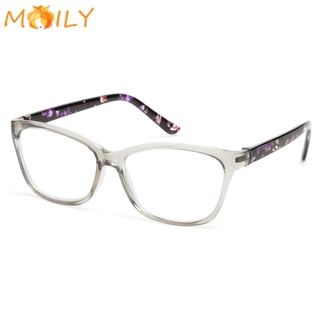 MOILY With Diopters +1.0~+4.0 Presbyopia Eyeglasses Anti Glare Spectacle Frames Floral Reading Glasses Portable Ultralight HD Resin Lens PC Frame Radiation Protection Eyewear