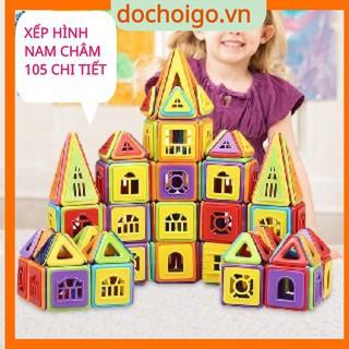 Đồ chơi xếp hình nam châm 105 chi tiết, đồ chơi phát triển trí tuệ dochoigo.vn