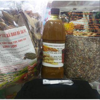 Combo bộ sản phẩm sau sinh gồm muối thảo dược, túi chườm, ruợu nghệ gừng, lá tắm dân tộc dao