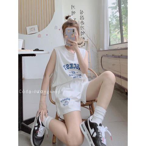 Mặc gì đẹp: Thoải mái với [HÀNG HOT] Bộ thể thao nữ BT08 unisex, set đồ thể thao thun sát nách nam nữ dáng rộng phong cách Hàn Quốc, chất vải mát
