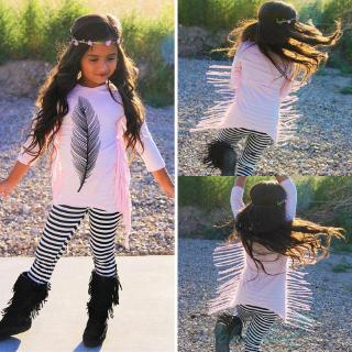 ღ☭Little Girls Fashion Tassel Long Sleeve Tops+Striped Long Leggings