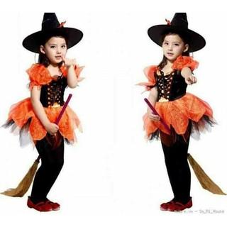 trang phục Halloween bé gái phù thủy tutu