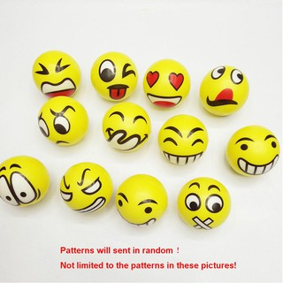 12Pcs Baby Kids Sports Bouncing Ball Rubbery Qq Face Hand Grab Rattles