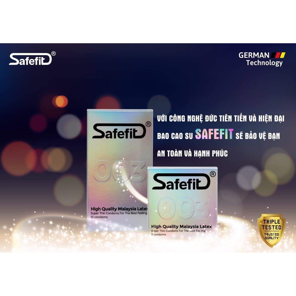[MUA LỚN TẶNG NHỎ] Bao cao su CỰC SIÊU MỎNG Safefit 0.029mm - 15 chiếc