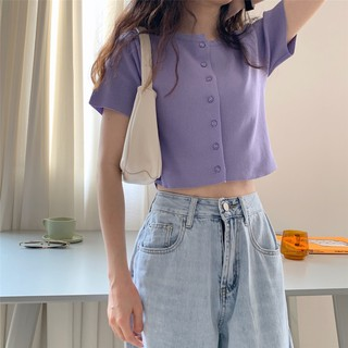 Women's Korean ins short knit cardigan crop top loose short sleeve T-shirt