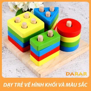 Đồ chơi gỗ – Bộ thả hình học 4 trụ – Đồ chơi phát triển giúp bé làm quên hình khối và màu sắc – Hàng loại 1