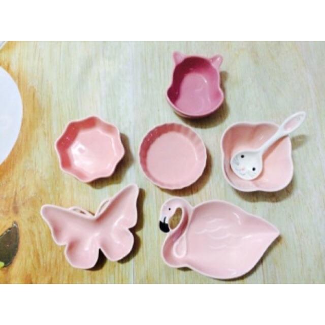Set bát sứ ăn dặm cho bé màu hồng cute
