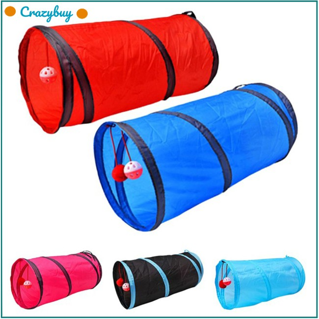 Funny Pet Cat Tunnel 2 Holes Play Tubes Balls Collapsible Crinkle Kitten Toy