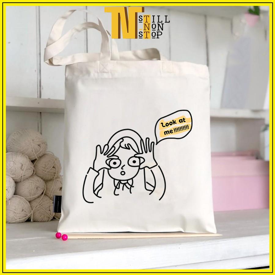 Túi tote đeo vai đeo chéo túi  vải canvas giá rẻ đẹp đi học ULZZANG XUONGMAITNT N3
