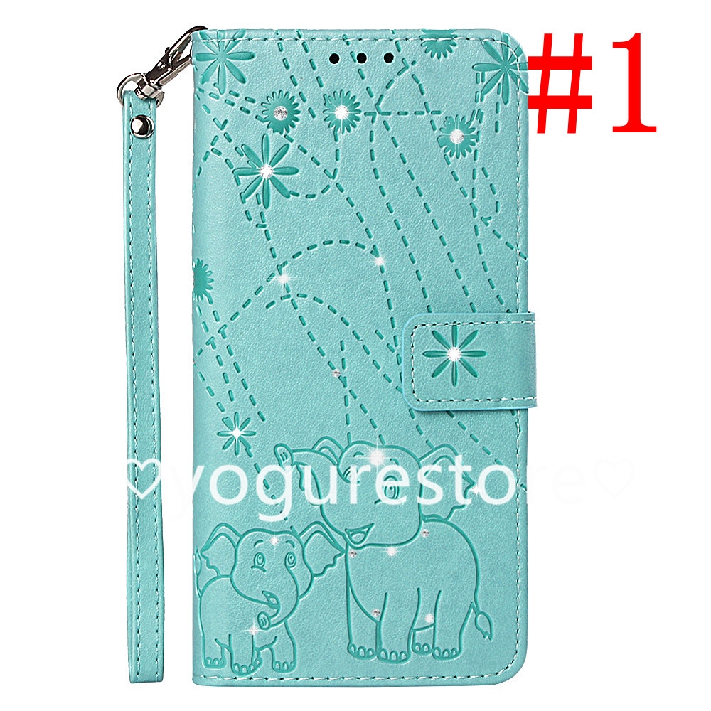 Fashion Diamond Fireworks Elephant Leather Phone Flip Cover Xiaomi Redmi6 RedmiNote5pro Redmi5plus
