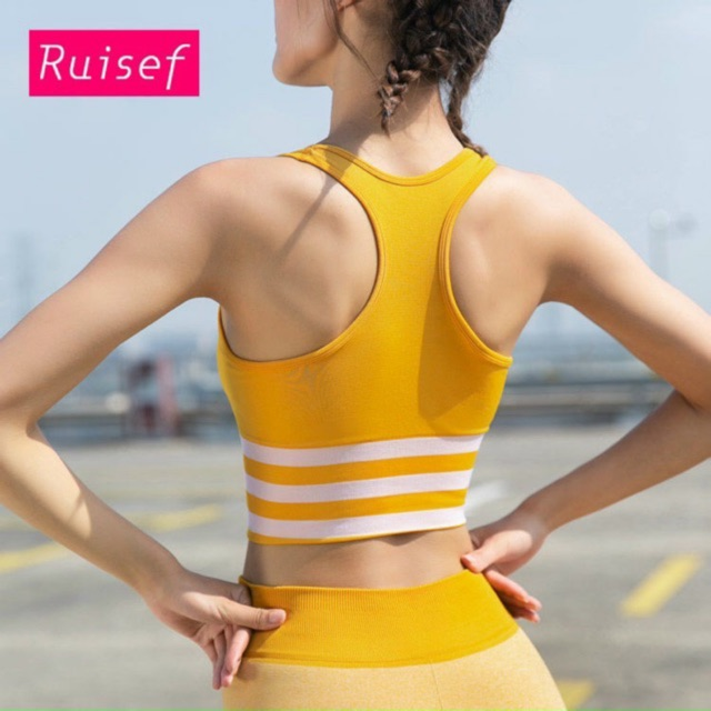 Áo bra gym yoga bra thể thao dáng crotop khoét lưng sexy thoáng mát kẻ sọc rất thể thao xịn rẻ đẹp