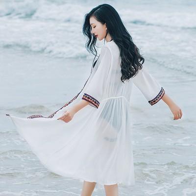 Áo Khoác Dáng Dài Chống Nắng Thời Trang Đi Biển Cho Nữ