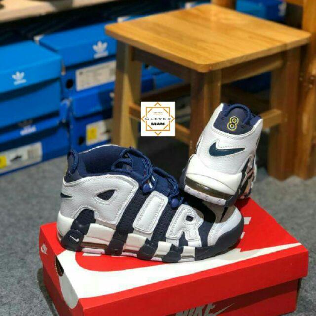 (GIÁ TỐT) Giày thể thao NIKE AIR MORE UPTEMPO blue/white Xanh chữ trắng