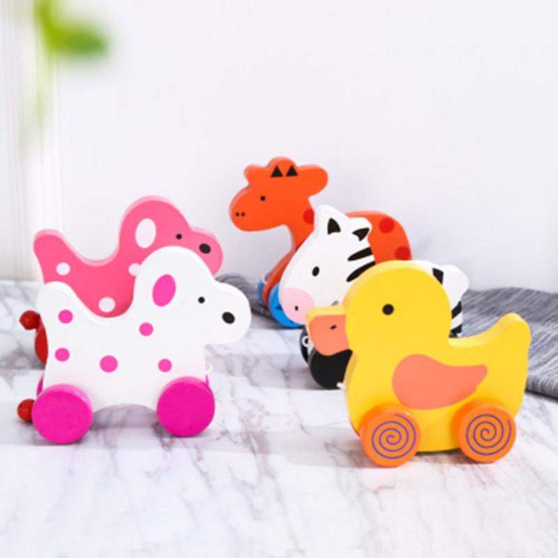 Wooden Early Education Pull Toy Walk Zebra Giraffe Puppy Car Toy
