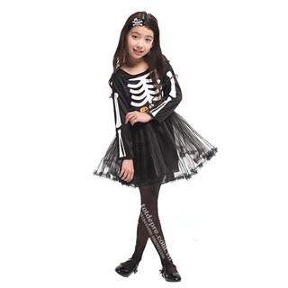 Hóa Trang Halloween-Váy In Hình Xương Người