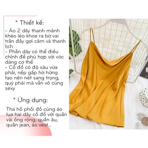 Áo hai dây nữ Amee, Thiết kế cổ đổ, áo 2 dây có thể điều chỉnh, chất lụa dày đẹp, nhiều màu dễ phối đồ