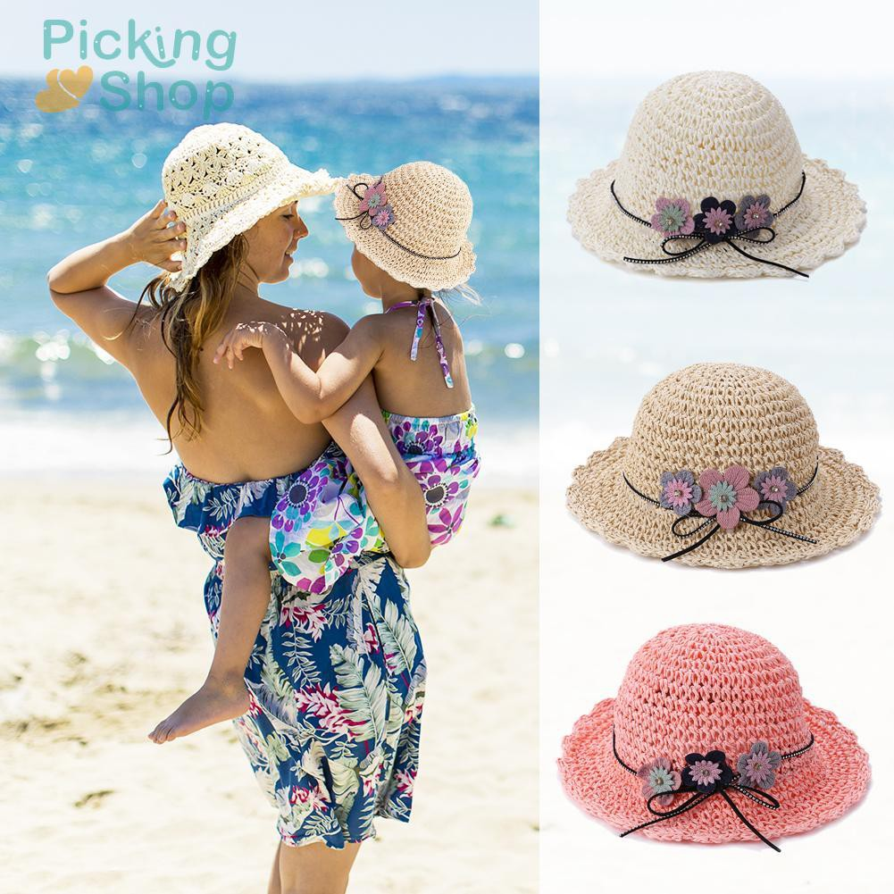 3 Flowers Weaving Straw Hat Boater Girls Summer Sun Hat Seaside Beach Cap