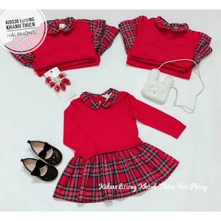Váy len caro đỏ HM H&M sz 6m-4y_hàng chính hãng Authentic