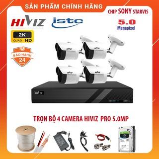 Bộ Camera giám sát HIVIZ Pro 5.0MP 2K Siêu nét - Đủ Bộ [1 2 3 4 Camera] 5.0MP, Kèm HDD, Đầy đủ phụ kiện lắp đặt thumbnail