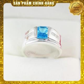 [Hàng loại A] Nhẫn bạc nam đính đá đẹp giá rẻ mặt đá xanh dương Nhẩn bạc đẹp