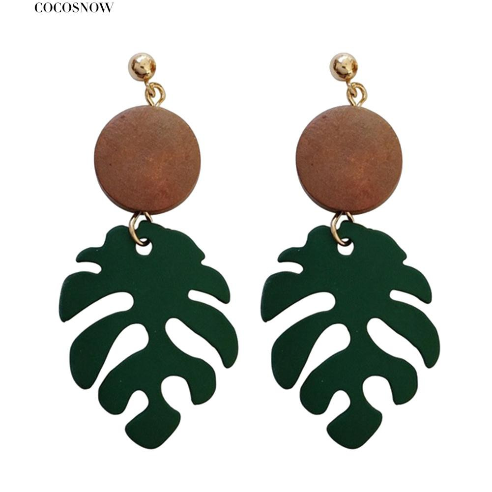 💖Bohemian Wooden Monstera Leaf Dangle Women Stud Earrings/Ear Clips