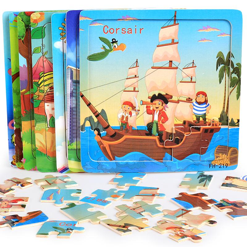 BF*20 Blocks Wooden Puzzle Toy Animal Cartoon Jigsaw Set Early Education Toy Gift