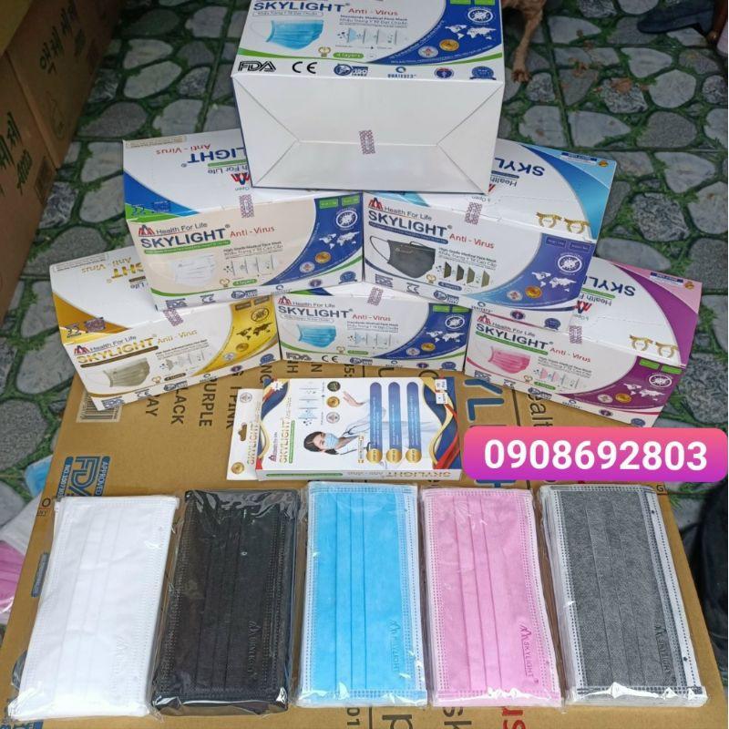 Khẩu trang y tế giấy kháng khuẩn 4 lớp hộp 50c SKYLIGHT