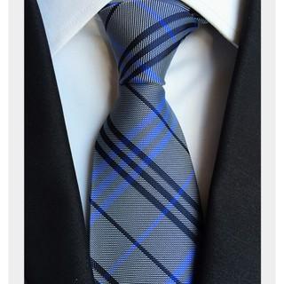 Cà vạt đẹp FITTOP-CAVAT003 sọc caro xanh xám
