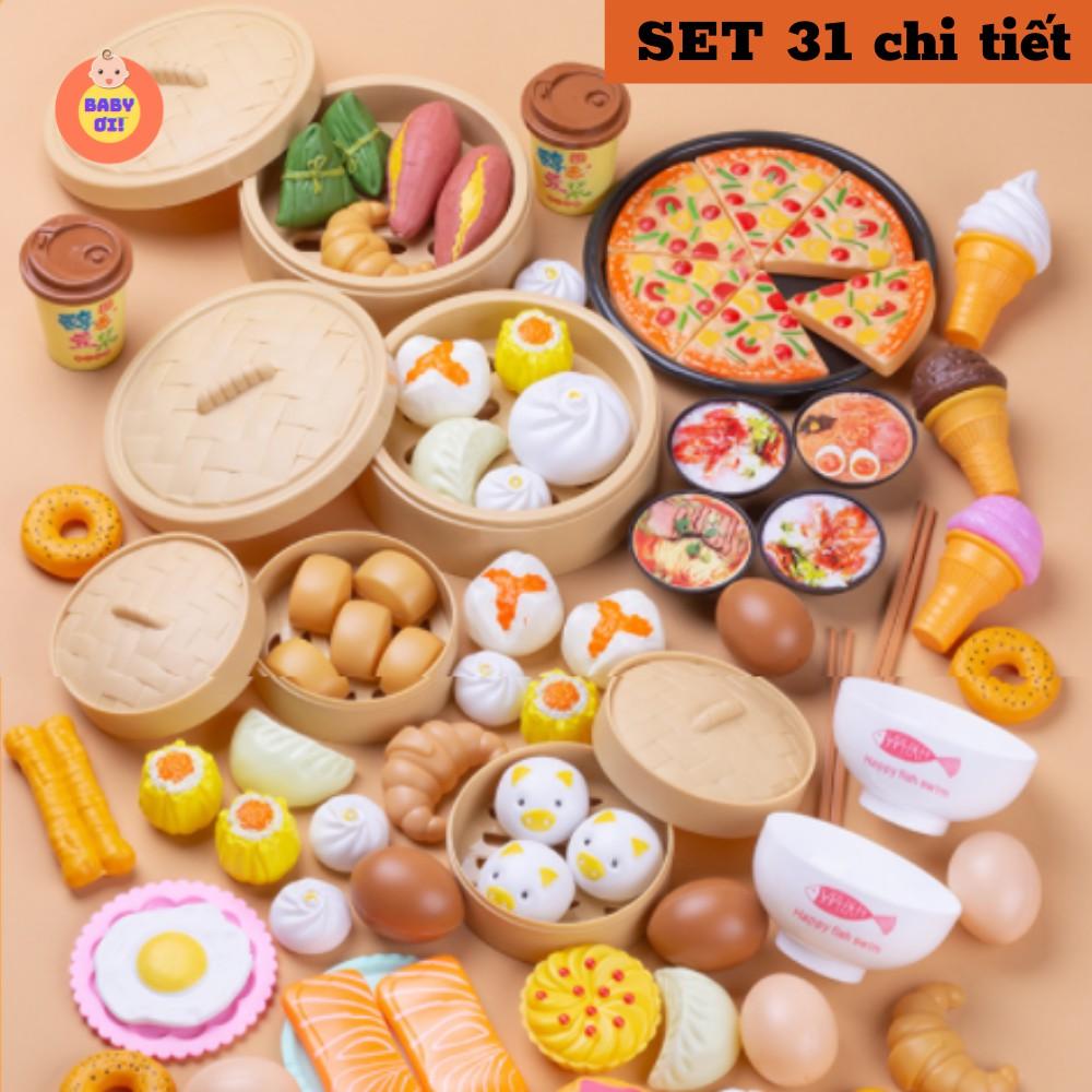 Bộ đồ chơi nấu ăn cho bé, mô hình đồ ăn, thức ăn, đồ chơi đồ hàng, set 31 chi...
